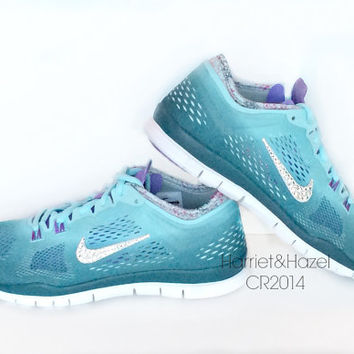 Women's Nike Free 5.0 TR FIT 4 Print in Glacier Ice with hand placed Swarovski crystal details