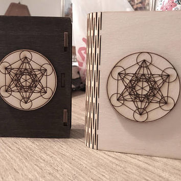 Metatron's Cube Wooden Book Box - Stained or Natural - Layered 3D - Card size