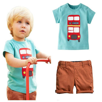 Boys London Bus Themed T Shirt and Shorts Set
