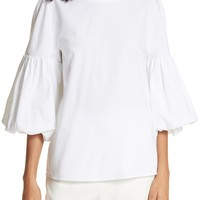 Tibi Watts Balloon Sleeve Oxford Top | Nordstrom