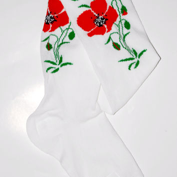 Girl's dress tights with Poppy flower design. White.