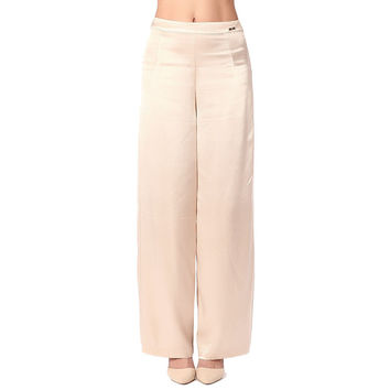 Beige wide leg pants in soft-touch satin