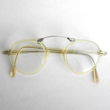 Rare 1930s Vintage Eyeglasses Clear Framed Celluloid Oval Spectacles Silver Metal Bridge Antique Eyewear