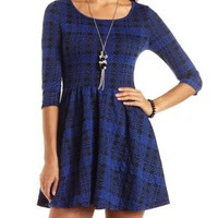 Abstract Plaid Skater Dress by Charlotte Russe - Black/Blue