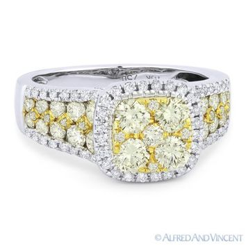 1.71ct Round Cut Diamond Pave Right-Hand Fashion Ring in 18k White & Yellow Gold