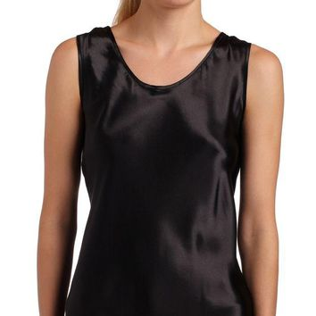 LMFN3C Women's Satin Charmeuse Tailored Tanktop camisole, Black, X-Large