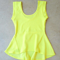 Lime Flared Peplum Top
