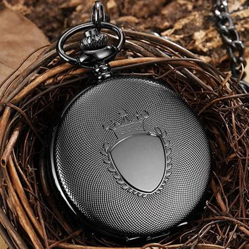 Vintage Steampunk Chain Pocket Watch Necklace Men Quartz Fob Watch Pendant With Roman Numerals Black Bronze Gold Woman Men Gift