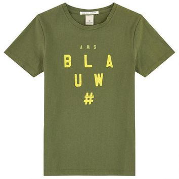 VONES0 Scotch & Soda Boys Military Green Logo T-shirt