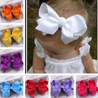 Cute Baby Grosgrain Ribbon Bow Hair Clip Pin Flower Baby Girl Headdress Accessories Orange Pink Green Yellow White Black  BB-156