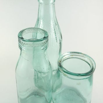 Vintage Bottles Set, Instant Collection of Aqua Blue Glass Bottels , Vintage Glassware, Vintage Yogurt Jar + Milk Bottle + Cola Bottle