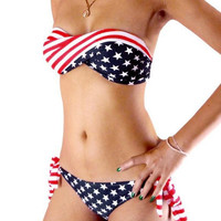 Stars And Stripes USA American Flag Twisted Bandeau Padded Swimwear Bikini  happylife512 = 1956906884