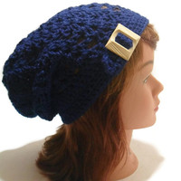 Crochet Navy Blue Open Stitch Beanie Hat with Buckle Tab