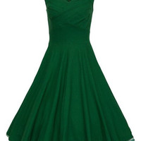 Vintage Back Zipper Sleeveless Ball Gown Dress