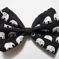 Black and White African Print Elephant Bow by RosetteBelles