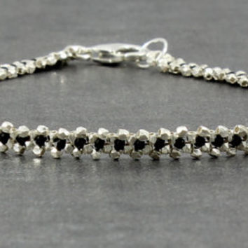 Sterling Silver Anklet Chain Black Ankle Bracelet Beaded Jewelry