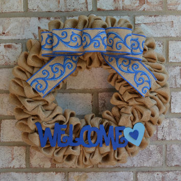 Natural Burlap Wreath with Blue Bow, Welcome Sign, Blue Wreath, Welcome Wreath, Summer Wreath, Blue Burlap Wreath, Welcome Sign