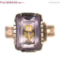 Bracelet and Ring Sale Antique Victorian Etched Amethyst & Diamond Flower Ring 10k Gold