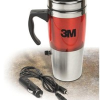 12 Volt Heated Stainless Travel Mug with USB - RED
