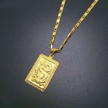 2016 Fashion Real 24K Gold Plating Necklace Pendant Man Jewelry Dragon K Gold Chain Hiphop Jewelry Rock style in YA247