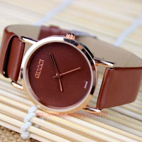 Ms contracted fashion watches, small dial brown leather watch, watch fashion magazine, the girl's favorite