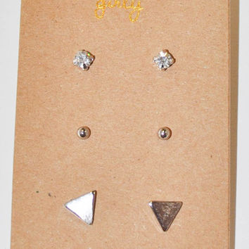 Brushed Triangle Trio Studs