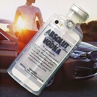 Clear Black Absolut Vodka Alcohol Bottle TPU Silicone Phone Case Iphone Samsung Cover
