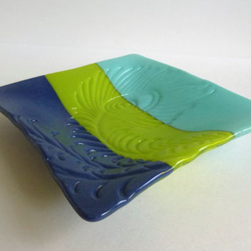 Peacock Feather Imprinted Dish in Turquoise, Green and Cobalt Opaque Fused Glass