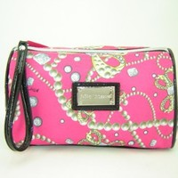 Betsey Johnson Breakfast At Tiffany's Cosmetic Make Up Case Bag Pink Multi