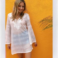 SEA SHORES BELL SLEEVE COVER UP-WHT CROCHET