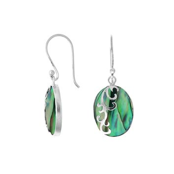 AE-7034-AB Sterling Silver Oval Shape Earring with Abalone Shell