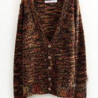 Wool Multi Color V-Neck Long Sleeve Single-Breasted Sweater  style 819my015