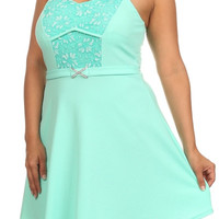 Solid Lace A Line Dress - Mint - Plus Size