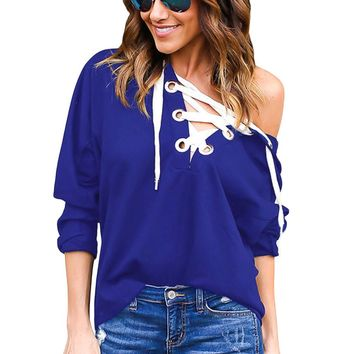 Blue Loose Fit Lace Up Hoodie