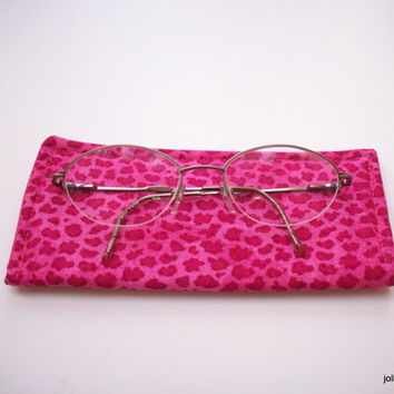 Hot Pink Leopard Print Protective Padded Pouch Eyeglass Case