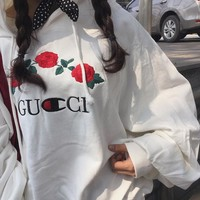 "Alphabet ""Gucci"" Long Sleeve Embroidery Pullover Hoodies [11532968588]"