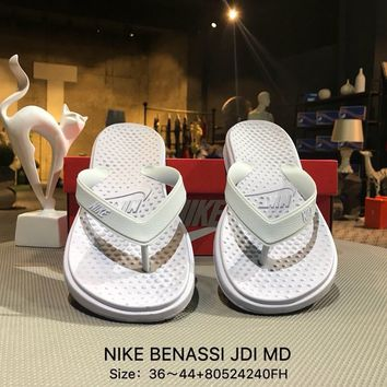 Nike BENASSI JDI MD White Fashion Sandals Flip Flops Shoes Sneaker