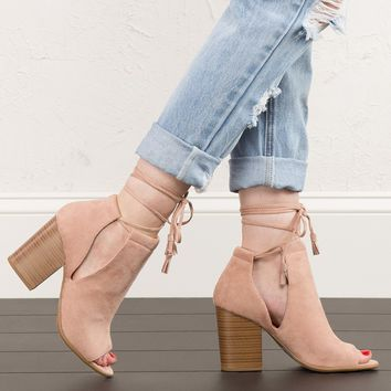 Peep Toe Booties in Mauve