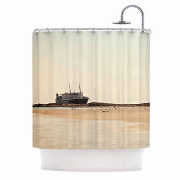 "Sylvia Coomes ""Nautical Bliss"" Tan Brown Shower Curtain"