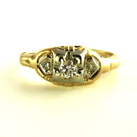Art Deco Transitional Diamond Ring in Yellow Gold