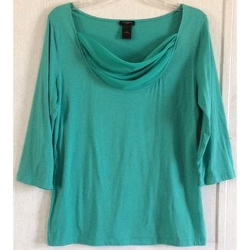 Ann Taylor Chiffon Cowl Neck Top Mint Green Draped Blouse 3/4 Sleeve Shirt L