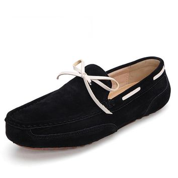Suede Leather Moccasin Slip On Driving Shoes