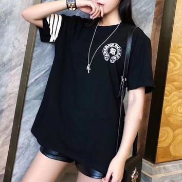 """Chrome Hearts"" Personality Horseshoe Letter Print Stripe Short Sleeve Women Casual T-shirt Top Tee"