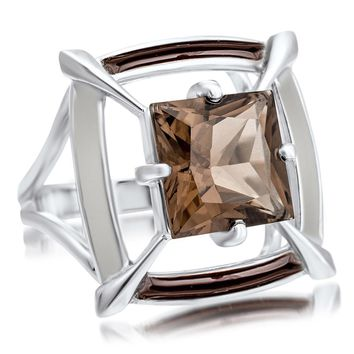 925 Silver Ring with Smoky Quartz, Brown Enamel, White Enamel