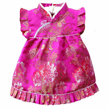 QZ-7Turquoise Blue New Born Baby Dresses Jacquard Silk cheongsam for baby aged 4-36 Months  Free Drop shipping
