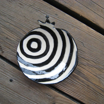 Bullseye Pomegranate Dish - Ceramics and Pottery - Black and White - Ceramic Decor - Jewelry Dish - Round Pottery Dish - Psychedelic Art