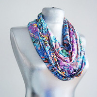 Handmade Colorful Pixel Infinity Scarf - Summer Scarf - Purple Blue Green Orange - Cotton Jersey