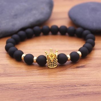 New Trendy Pave CZ King Crown Charm Bracelets Elasticity Adjust Size  Natural Bianshi Stone Beads For Women Men Jewelry