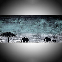 """elephant animal original painting mother and baby african art landscape paintings on canvas wall original office home decor 48 x 16 """""""