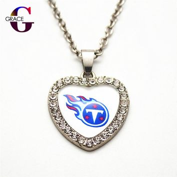1pcs Fashion Tennessee Titans Football Sports Charms Heart Crystal Necklace Pendant With 50cm Chains For Women Men Diy Jewelry